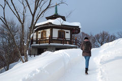 A stroll in Winter. A stroll uphill in winter at Sapporo, Japan Stock Image