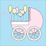Stroller with balloons Stock Images