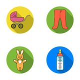Stroller, bottle with a pacifier, toy, sliders.Baby born set collection icons in flat style vector symbol stock Royalty Free Stock Photos