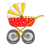 Stroller on four wheels. Child care. Items for the newborn. Icon. Vector. Stock Photography