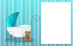 Stroller for kids with teddy bear. Blue background with stroller for newborn with teddy bear Royalty Free Stock Image
