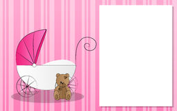 Stroller for kids with teddy bear. Pink background with stroller for newborn with teddy bear Stock Photo