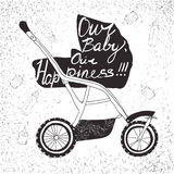 stroller with lettering. Our baby, our happiness, Calligraphic Stock Photos