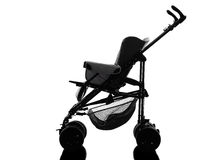Stroller  prams baby carriage silhouette Stock Photos