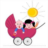 Stroller and sun Royalty Free Stock Image