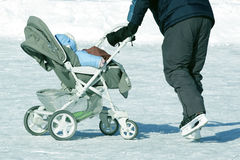 The stroller winter Royalty Free Stock Image
