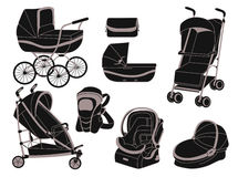 Strollers. Baby strollers and other items, silhouettes Royalty Free Stock Images