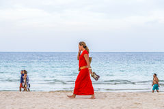 Strollers at the beach Stock Photography