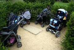 Strollers.buggies.children or babies buggies.parking area Royalty Free Stock Images