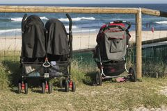 Strollers looking out to sea. Prams looking out to sea, Gold Coast Australia Royalty Free Stock Photography