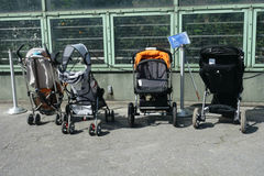 Strollers Parking royalty free stock photo