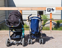 Strollers parking lot stock photography