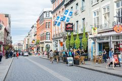 Strollin i Quebec City royaltyfri bild