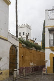Strolling through the ancient streets of Seville and today judera neighborhood called Santacruz Stock Photography