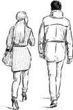 Strolling couple Stock Image