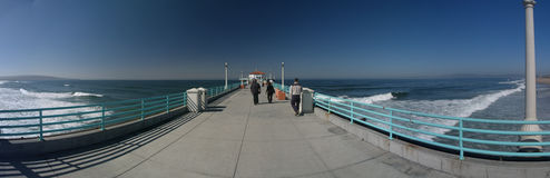 Strolling down the pier. Manhattan beach California Panoramic with the pier Royalty Free Stock Photography