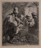 The Strolling Musicians from 1635. by Rembrandt stock images