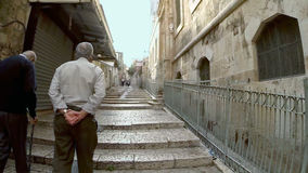 Strolling in the old city of Jerusalem stock video