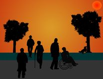 Strolling in the park, as the sunsets vector illustration