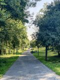 Strolling in a park at riverside royalty free stock photography