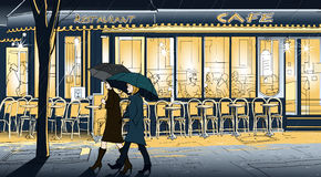Strolling in the rain. Vector illustration of two women strolling in the rain in a street of Paris Royalty Free Stock Image