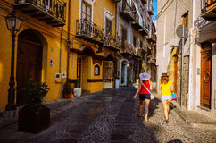 Strolling the streets of Cefalù, Sicily Royalty Free Stock Images