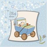 Карточка ливня ребёнка с ретро strolller Стоковые Фотографии RF