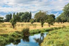 Strom, der englische Landschaft am Sommertag durchfließt Lizenzfreies Stockbild