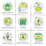 Strom-Energieversorgungs-Macht-Erfindung, Heizung, intelligente Steuerung, Klimaanlagen-Ikonen-Satz stock abbildung