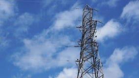 Strom-Mast oder Stromleitung stock video footage