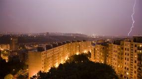 Strom over Bratislava habitation. Strom and bold over Bratislava habitation royalty free stock photos