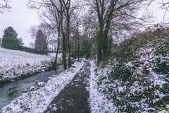 Strom umgeben durch die Bäume und Straßen bedeckt im Schnee während des Sturms Emma Lizenzfreies Stockbild