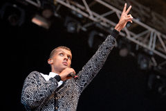 Stromae, Belgian singer who plays House, New Beat and electronic music, performs at Heineken Primavera Sound 2014 Festival Royalty Free Stock Image