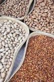 Stromanden met diverse soorten noten Stock Afbeeldingen