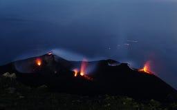 Stromboli. Constantly active volcano on the island of Stromboli, Sicily, Italy Stock Photography
