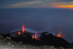 Stromboli. Constantly active volcano on the island of Stromboli, Sicily, Italy Royalty Free Stock Images