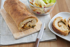 Stromboli filled with ham and cheese Stock Photo