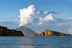 Stromboli island. Active crater Stromboli, south Italy royalty free stock photo