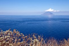 Stromboli island. Active volcano, Stromboli, aeolian island royalty free stock photo