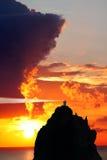 Stromboli Lighthouse, Italy Stock Images