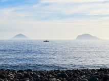 Stromboli and Panarea islands seen from the Salina island in the Aeolian islands, Sicily, Italy Stock Images