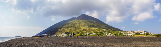Stromboli. A panoramic view of Stromboli, a volcanic island in the Mediterranean sea Stock Photography