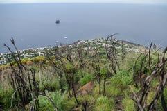 Stromboli. Sea view from the slopes of Stromboli, Sicily, Italy Stock Image