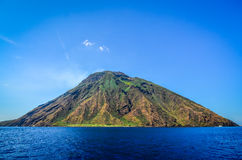 Stromboli volcanic island in Lipari viewed from the ocean, Sicil Stock Photography