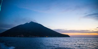 Stromboli vulcan. The island of Stromboli, one of Isole Eolie, with a still active vulcan. The small eruptions happen many times a day. The movie & x22;Stromboli Stock Photo
