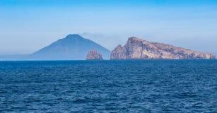Stromboli wulkan przy eolian wyspą Zdjęcie Stock