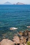 Stromboli wulkan przy eolie wyspą Obrazy Stock