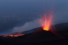 Strombolian activity at night Stock Photo