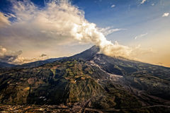 Strombolian Activity At Sunset Of Tungurahua Volcano Royalty Free Stock Image