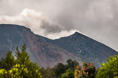 Strombolian activity at Volcano Pacaya, Guatemala. Looking up to Pacaya Volcano showing some Strombolian activity. Pacaya is one of the most active Volcanoes in Royalty Free Stock Photo